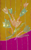 YELLOW-DEEPPINK GEORGETTE UNSTITCHED SALWAR KAMEEZ SUIT DRESS MATERIAL HEAVY DUPATTA SEQUINS WORK LADIES DEN - Ladies Den