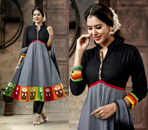 BLACK-GREY COTTON UNSTITCHED ANARKALI SALWAR KAMEEZ SUIT DRESS MATERIAL w EMBR LADIES DEN - Ladies Den