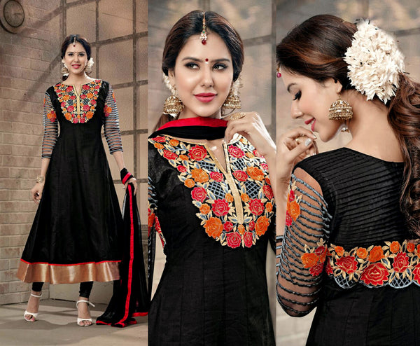 BLACK COTTON UNSTITCHED ANARKALI SALWAR KAMEEZ SUIT DRESS MATERIAL w EMBR LADIES DEN - Ladies Den