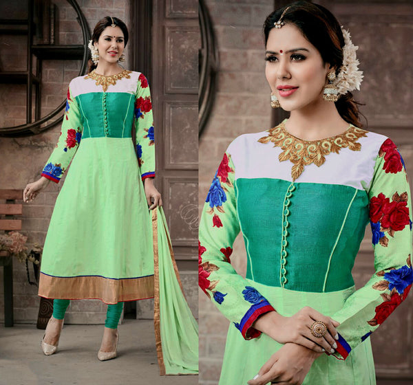 PALE GREEN COTTON UNSTITCHED ANARKALI SALWAR KAMEEZ SUIT DRESS MATERIAL w EMBR LADIES DEN - Ladies Den
