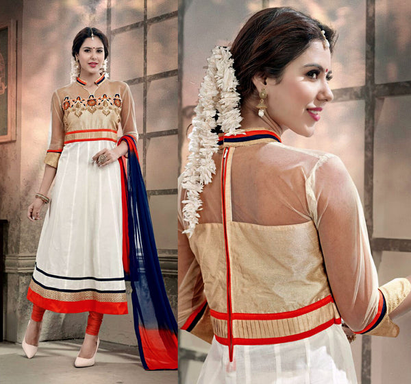 OFF-WHITE COTTON UNSTITCHED ANARKALI SALWAR KAMEEZ SUIT DRESS MATERIAL w EMBR LADIES DEN - Ladies Den