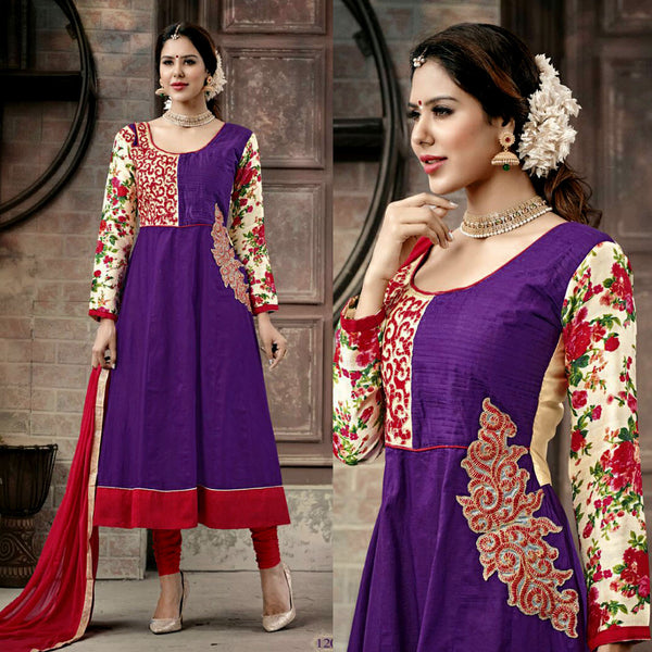 PURPLE-RED COTTON UNSTITCHED ANARKALI SALWAR KAMEEZ SUIT DRESS MATERIAL w EMBR LADIES DEN - Ladies Den