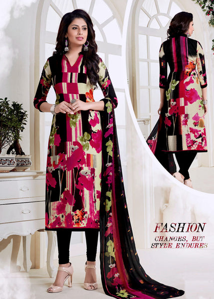 VIOLETRED-BLACK PRINTED PASHMINA WOOL UNSTITCHED SALWAR KAMEEZ SUIT DRESS MATERIAL LADIES DEN - Ladies Den
