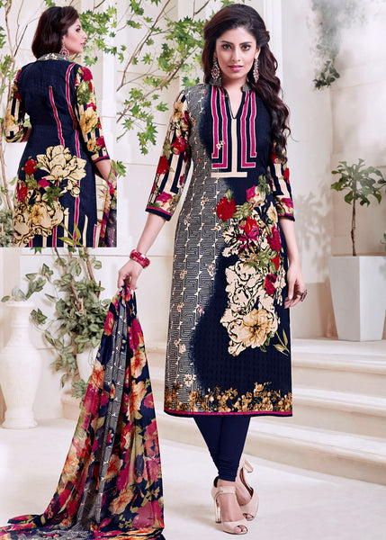 NIGHT BLUE PRINTED PASHMINA WOOL UNSTITCHED SALWAR KAMEEZ SUIT DRESS MATERIAL LADIES DEN - Ladies Den