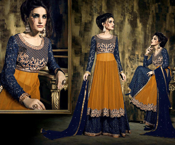 TURMERIC YELLOW-NIGHT BLUE NET UNSTITCHED ANARKALI SALWAR KAMEEZ SUIT DRESS MATERIAL w EMBR LADIES DEN - Ladies Den