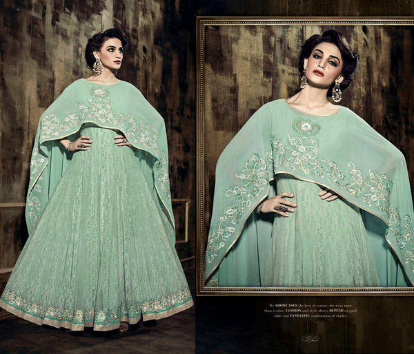 PALE MINT GREEN BRASSO NET UNSTITCHED ANARKALI SALWAR KAMEEZ SUIT DRESS MATERIAL w EMBR LADIES DEN - Ladies Den