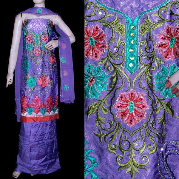LAVENDER JACQUARD CREPE UNSTITCHED PATIALA SALWAR KAMEEZ SUIT DRESS MATERIAL RESHAM EMBR LADIES DEN - Ladies Den