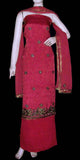 RUBY RED JACQUARD CHINON CREPE UNSTITCHED SALWAR KAMEEZ SUIT DRESS MATERIAL RESHAM & KUNDAN WORK LADIES DEN - Ladies Den