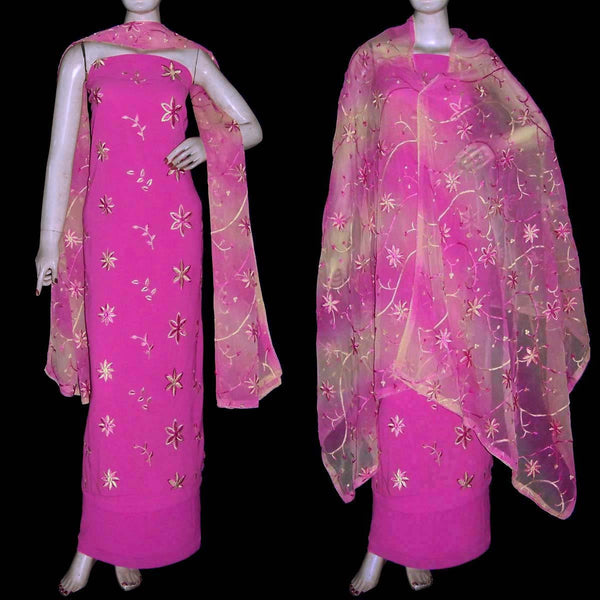 MEDIUM PINK GEORGETTE CREPE UNSTITCHED SALWAR KAMEEZ SUIT DRESS MATERIAL HEAVY DUPATTA RESHAM EMBR LADIES DEN - Ladies Den