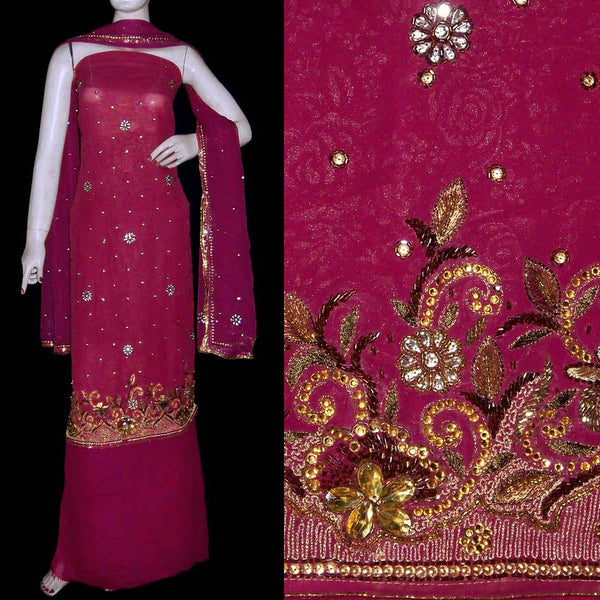 WINE GOLDEN EMBOSSED GEORGETTE UNSTITCHED SALWAR KAMEEZ SUIT DRESS MATERIAL ZARI & KUNDAN WORK LADIES DEN - Ladies Den