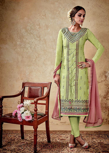 PASTEL GREEN SATIN COTTON UNSTITCHED SALWAR KAMEEZ SUIT DRESS MATERIAL w EMBR LADIES DEN - Ladies Den