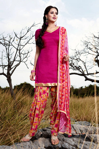 VIOLET RED GLAZED COTTON UNSTITCHED CASUAL PRINTED SALWAR KAMEEZ SUIT DRESS MATERIAL LADIES DEN - Ladies Den