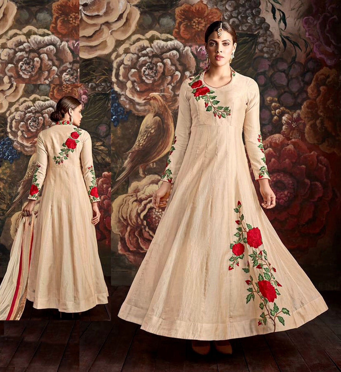 BEIGE READYMADE SIZE 42 CHANDERI SILK ANARKALI SALWAR KAMEEZ SUIT PARTY DRESS w PARSI EMBR LADIES DEN - Ladies Den