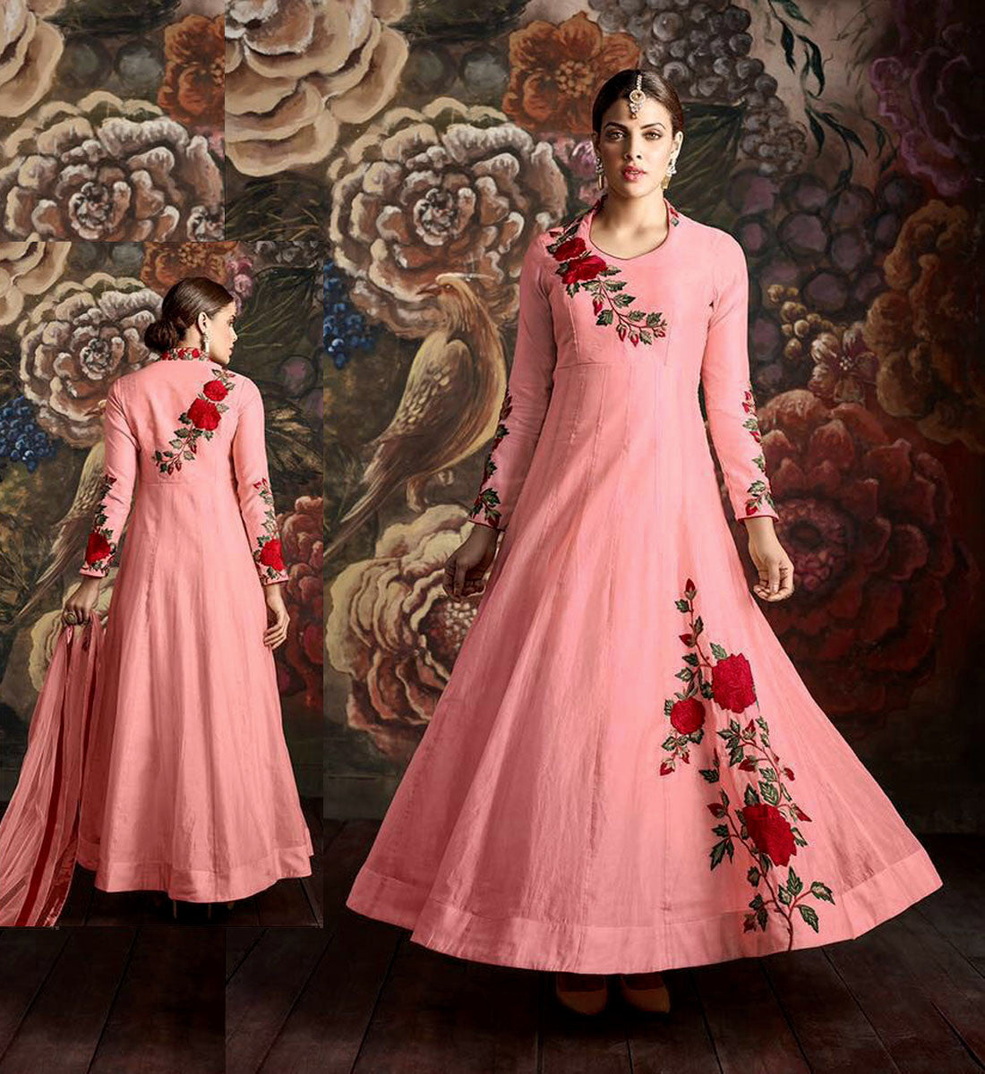 SALMON PINK READYMADE SIZE 42 CHANDERI SILK ANARKALI SALWAR KAMEEZ SUIT PARTY DRESS w PARSI EMBR LADIES DEN - Ladies Den