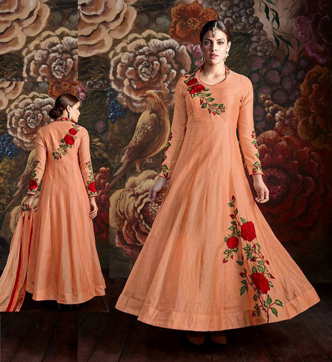 LIGHT ORANGE READYMADE SIZE 42 CHANDERI SILK ANARKALI SALWAR KAMEEZ SUIT PARTY DRESS w PARSI EMBR LADIES DEN - Ladies Den