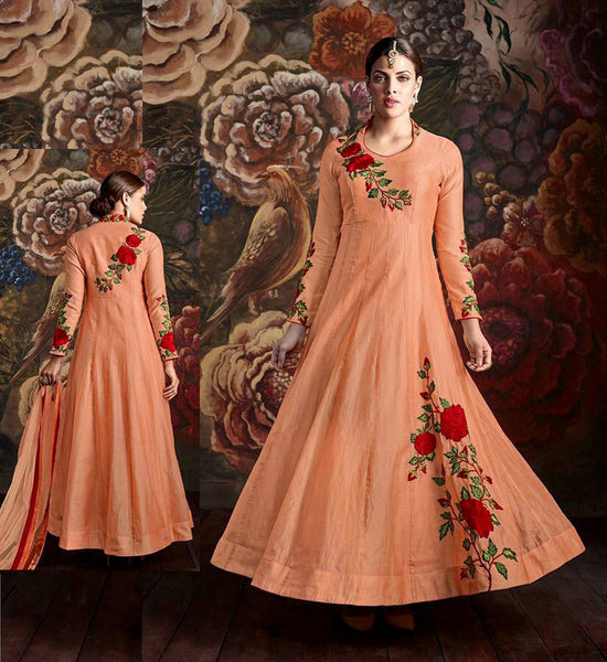 LIGHT ORANGE CHANDERI SILK PLUS SIZE ANARKALI SALWAR KAMEEZ SUIT DRESS w PARSI EMBR LADIES DEN - Ladies Den