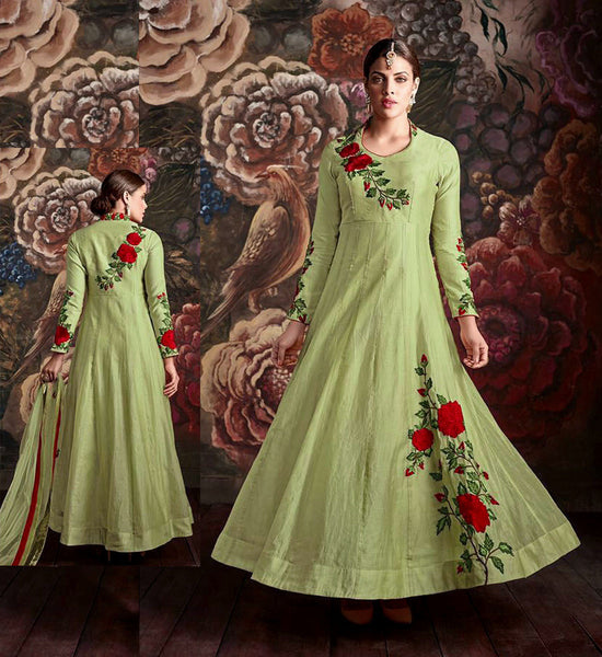 LIGHT GREEN READYMADE SIZE 42 CHANDERI SILK ANARKALI SALWAR KAMEEZ SUIT PARTY DRESS w PARSI EMBR LADIES DEN - Ladies Den