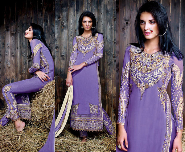 MEDIUM LAVENDER GEORGETTE UNSTITCHED DESIGNER LONG SALWAR KAMEEZ SUIT DRESS MATERIAL w EMBR LADIES DEN - Ladies Den