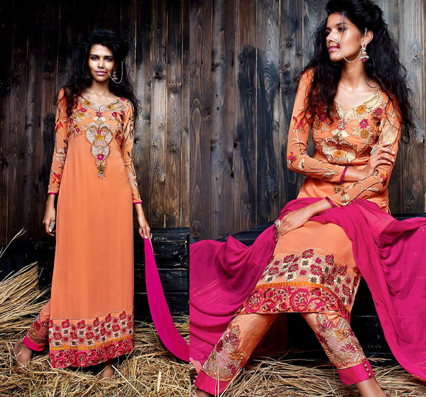 PASTEL ORANGE GEORGETTE UNSTITCHED DESIGNER LONG SALWAR KAMEEZ SUIT DRESS MATERIAL w EMBR LADIES DEN - Ladies Den