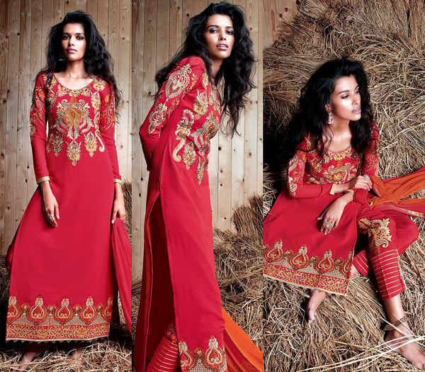 RED GEORGETTE UNSTITCHED DESIGNER LONG SALWAR KAMEEZ SUIT DRESS MATERIAL w EMBR LADIES DEN - Ladies Den