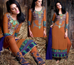 COPPER BROWN GEORGETTE UNSTITCHED DESIGNER LONG SALWAR KAMEEZ SUIT DRESS MATERIAL w EMBR LADIES DEN - Ladies Den