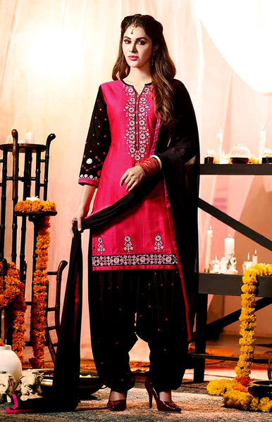 DARK PINK-BLACK COTTON UNSTITCHED PATIALA SALWAR KAMEEZ SUIT DRESS MATERIAL w EMBR LADIES DEN - Ladies Den