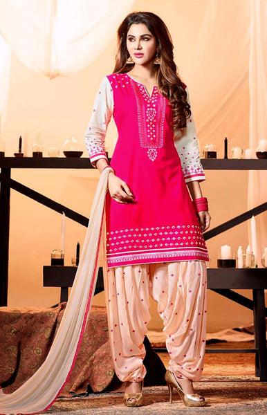 DEEP PINK-CREAM COTTON UNSTITCHED PATIALA SALWAR KAMEEZ SUIT DRESS MATERIAL w EMBR LADIES DEN - Ladies Den