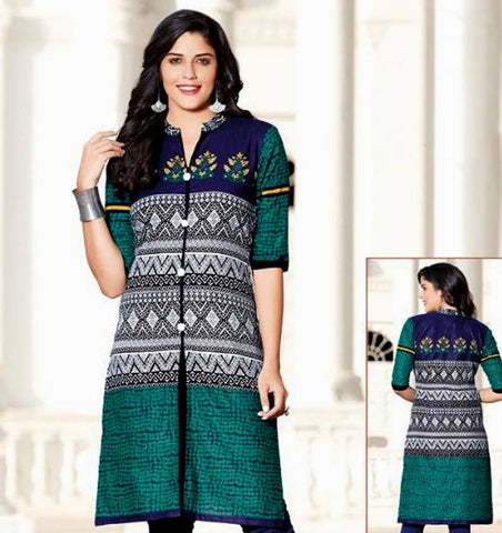 BLUE-WHITE-GREEN PRINTED COTTON CUSTOM STITCHED KURTI - KURTA - KAMEEZ UPTO READY SIZE 50 (stitching included) LADIES DEN