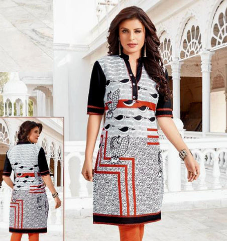 WHITE-BLACK-ORANGE PRINTED COTTON CUSTOM STITCHED KURTI - KURTA - KAMEEZ UPTO READY SIZE 50 (stitching included) LADIES DEN