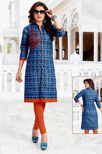 DARKBLUE-ORANGE PRINTED COTTON CUSTOM STITCHED KURTI - KURTA - KAMEEZ UPTO READY SIZE 50 LADIES DEN - Ladies Den