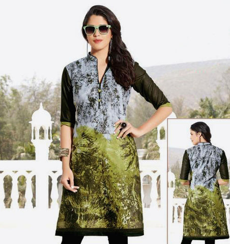 GRAY-OLIVEGREEN PRINTED COTTON CUSTOM STITCHED KURTI - KURTA - KAMEEZ UPTO READY SIZE 50 (stitching included) LADIES DEN