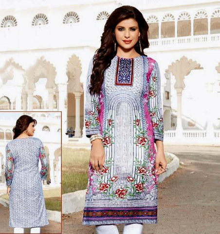 WHITE-PINK PRINTED COTTON CUSTOM STITCHED KURTI - KURTA - KAMEEZ UPTO READY SIZE 48 (stitching included) LADIES DEN