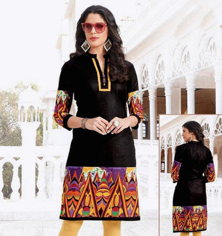 BLACK PRINTED COTTON CUSTOM STITCHED KURTI - KURTA - KAMEEZ UPTO READY SIZE 48 (stitching included) LADIES DEN
