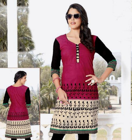 VIOLET RED PRINTED COTTON CUSTOM STITCHED KURTI - KURTA - KAMEEZ UPTO READY SIZE 50 (stitching included) LADIES DEN