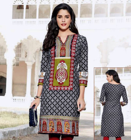 BLACK-WHITE-RED PRINTED COTTON CUSTOM STITCHED KURTI - KURTA - KAMEEZ UPTO READY SIZE 48 (stitching included) LADIES DEN