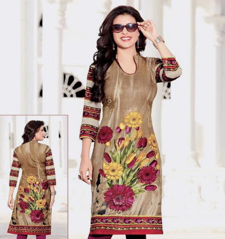 LIGHT BROWN PRINTED COTTON CUSTOM STITCHED KURTI - KURTA - KAMEEZ UPTO READY SIZE 48 (stitching included) LADIES DEN