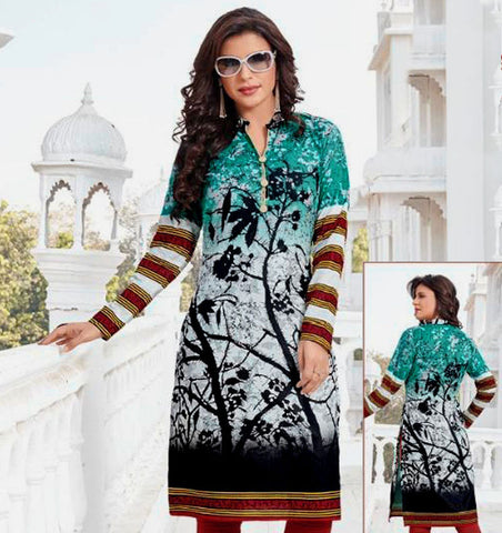 DARK TURQUOISE-WHITE-BLACK PRINTED COTTON CUSTOM STITCHED KURTI - KURTA - KAMEEZ UPTO READY SIZE 48 (stitching included) LADIES DEN