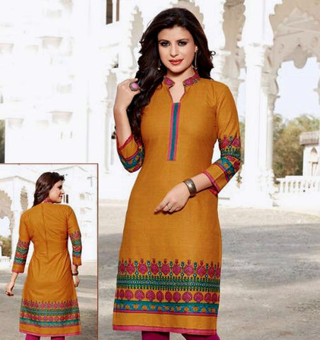 DARK YELLOW PRINTED COTTON CUSTOM STITCHED KURTI - KURTA - KAMEEZ UPTO READY SIZE 48 (stitching included) LADIES DEN