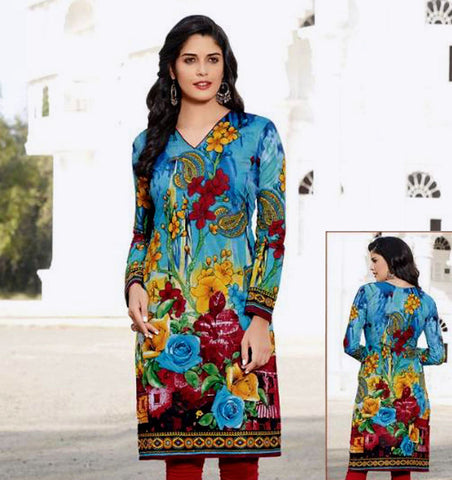 BLUE PRINTED COTTON CUSTOM STITCHED KURTI - KURTA - KAMEEZ UPTO READY SIZE 46 (stitching included) LADIES DEN