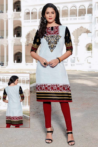 WHITE PRINTED COTTON CUSTOM STITCHED KURTI - KURTA - KAMEEZ UPTO READY SIZE 50 LADIES DEN - Ladies Den