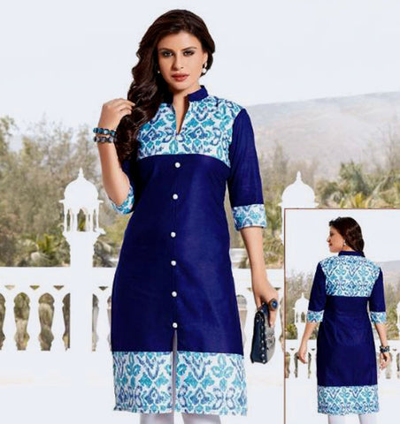 DARK NAVY BLUE PRINTED COTTON CUSTOM STITCHED KURTI - KURTA - KAMEEZ UPTO READY SIZE 50 (stitching included) LADIES DEN