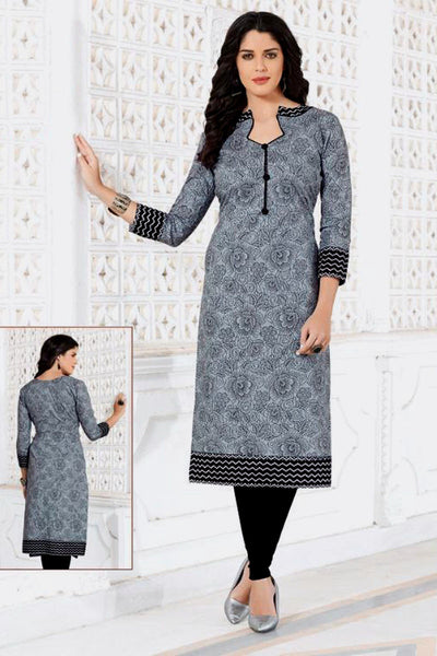GRAY-BLACK PRINTED COTTON CUSTOM STITCHED KURTI - KURTA - KAMEEZ UPTO READY SIZE 48 LADIES DEN - Ladies Den