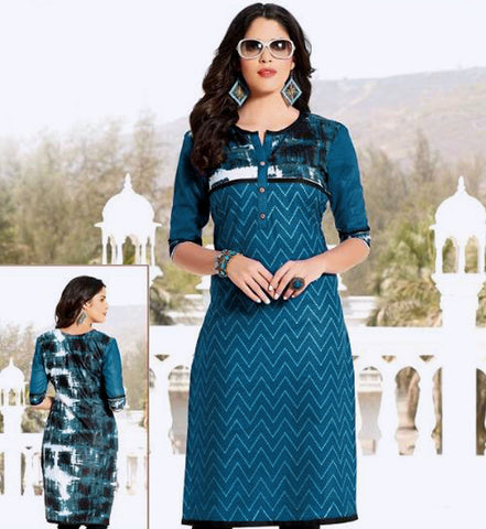 PEACOCK BLUE PRINTED COTTON CUSTOM STITCHED KURTI - KURTA - KAMEEZ UPTO READY SIZE 50 (stitching included) LADIES DEN
