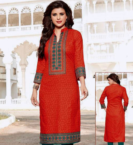 DARK ORANGE PRINTED COTTON CUSTOM STITCHED KURTI - KURTA - KAMEEZ UPTO READY SIZE 48 (stitching included) LADIES DEN