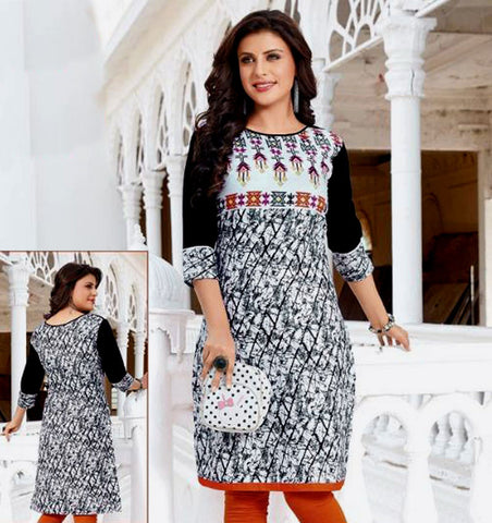 WHITE-GRAY PRINTED COTTON CUSTOM STITCHED KURTI - KURTA - KAMEEZ UPTO READY SIZE 50 (stitching included) LADIES DEN