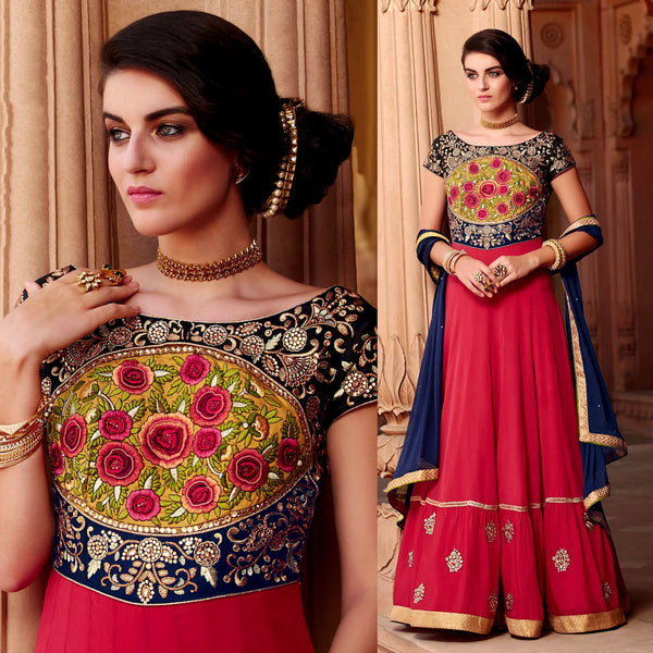 RED PURE SATIN UNSTITCHED ANARKALI SALWAR KAMEEZ SUIT DRESS MATERIAL w PARSI EMBR UPTO READY SIZE 50 LADIES DEN - Ladies Den
