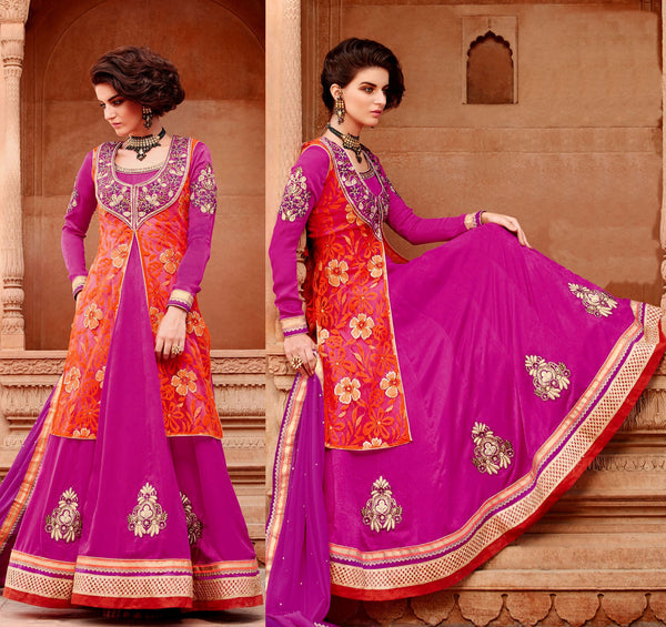 VIOLET RED PURE JACQUARD SATIN UNSTITCHED ANARKALI SALWAR KAMEEZ SUIT DRESS MATERIAL w EMBR UPTO READY SIZE 50 LADIES DEN - Ladies Den
