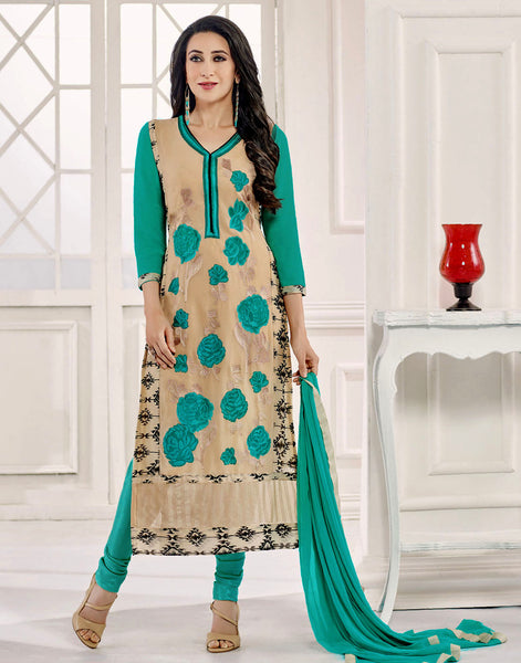 BEIGE-GREEN GEORGETTE UNSTITCHED DESIGNER LONG SALWAR KAMEEZ SUIT DRESS MATERIAL w EMBR LADIES DEN - Ladies Den