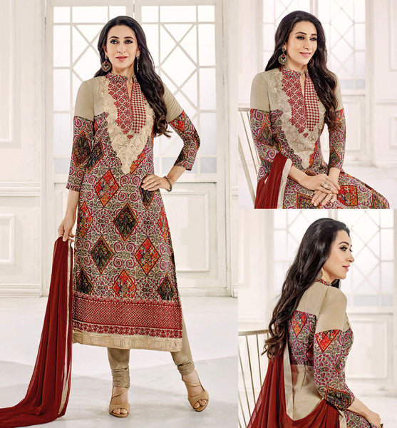 FAUN GEORGETTE UNSTITCHED DESIGNER LONG SALWAR KAMEEZ SUIT DRESS MATERIAL w EMBR LADIES DEN - Ladies Den