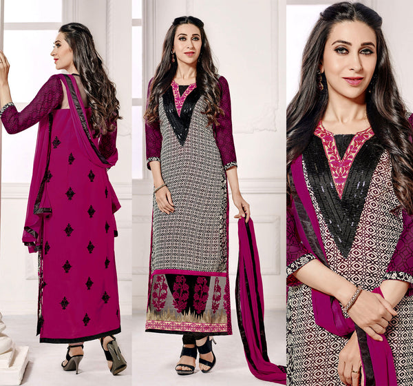 BLACK-VIOLET RED GEORGETTE UNSTITCHED DESIGNER LONG SALWAR KAMEEZ SUIT DRESS MATERIAL w EMBR LADIES DEN - Ladies Den